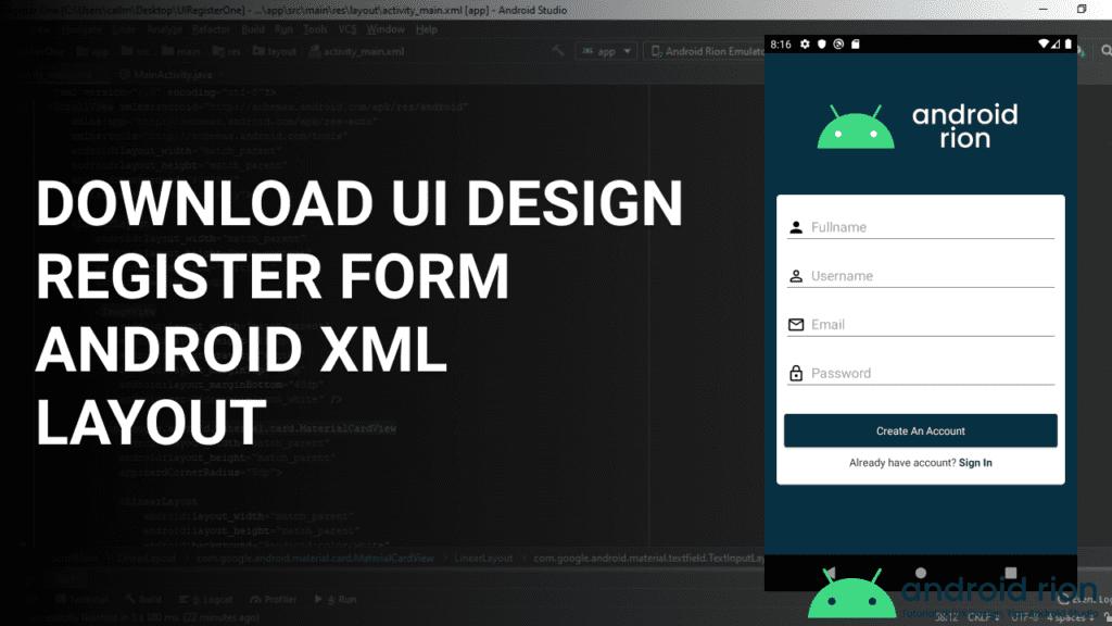 Android Material Design Register Form XML UI Design