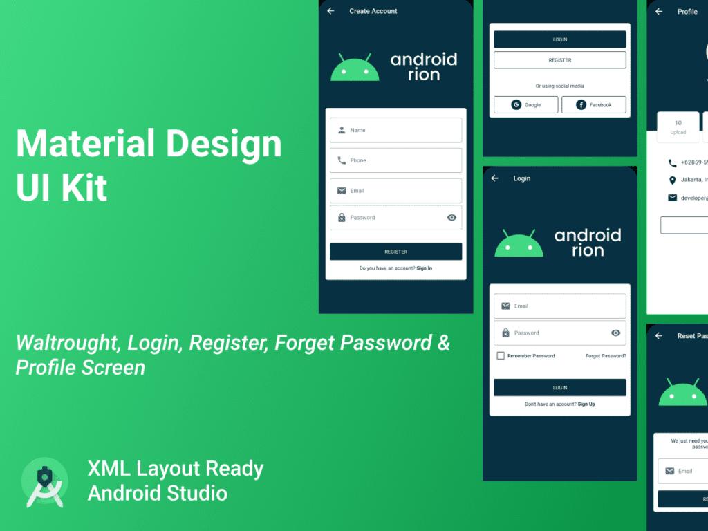 Material Design UI Kit Profile Register Login Android Studio